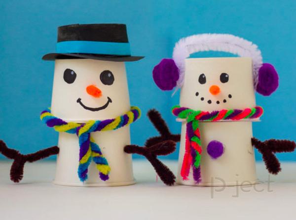 รูป 1 สอนทำ Snow man จากแก้วกระดาษ
