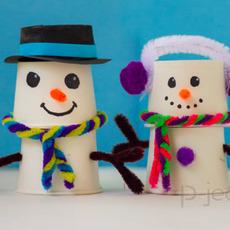 สอนทำ Snow man จากแก้วกระดาษ