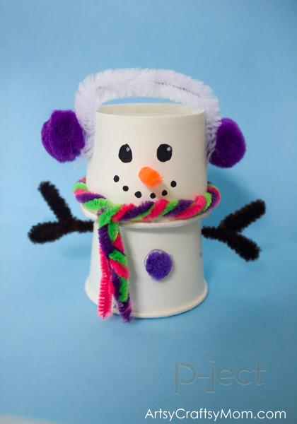 รูป 2 สอนทำ Snow man จากแก้วกระดาษ