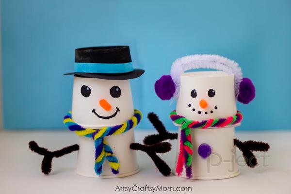 รูป 7 สอนทำ Snow man จากแก้วกระดาษ