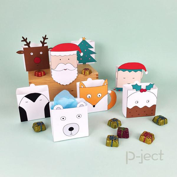 รูป 4 แพทเทิร์นกล่องใส่ของขวัญ ลายน่ารักๆ
