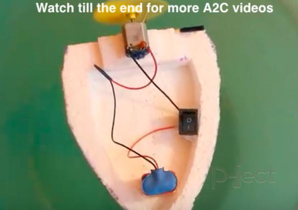 สอนทำเรือ ใช้โฟม พลังลมติดมอเตอร์เล็กๆ