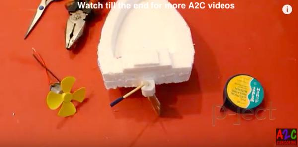 รูป 6 สอนทำเรือ ใช้โฟม พลังลมติดมอเตอร์เล็กๆ