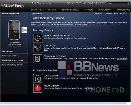 รูป 1 บริการ BlackBerry Shield ตามหามือถือหาย