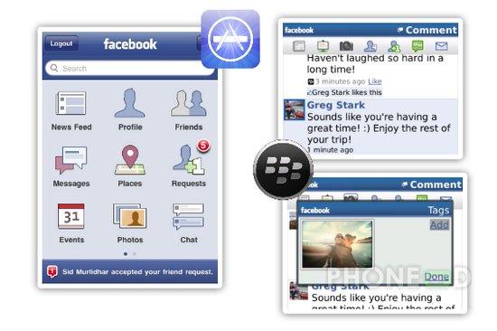 รูป 1 โปรแกรม Facebook สำหรับ iPhone และ Blackberry เวอร์ชั่นใหม่