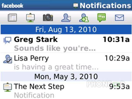รูป 6 โปรแกรม Facebook สำหรับ iPhone และ Blackberry เวอร์ชั่นใหม่