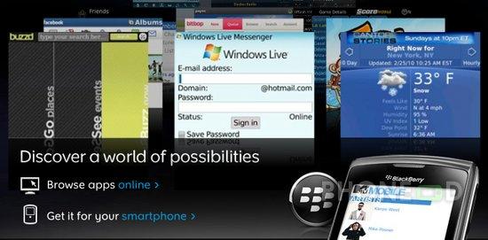 รูป 1 โปรแกรม BlackBerry App World เวอร์ชั่น 2.0
