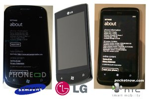 ภาพและสเปคมือถือวินโดวส์โฟน 7 ใหม่ Samsung i917 Cetus, LG E900 และ HTC 7 Trophy