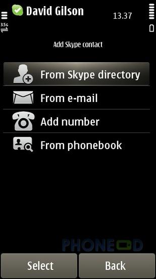 รูป 6 โปรแกรม Skype เวอร์ชั่น 1.50 สำหรับมือถือระบบซิมเบี้ยน