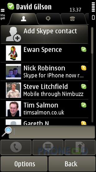 รูป 7 โปรแกรม Skype เวอร์ชั่น 1.50 สำหรับมือถือระบบซิมเบี้ยน