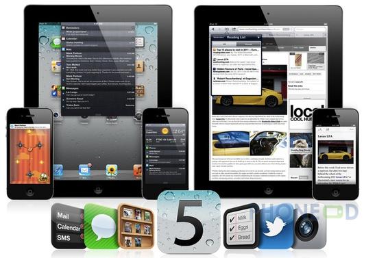 รูป 1 ข้อมูลระบบปฏิบัติการ iOS 5 สำหรับ ไอโฟน, ไอแพด และ ไอพอดทัช