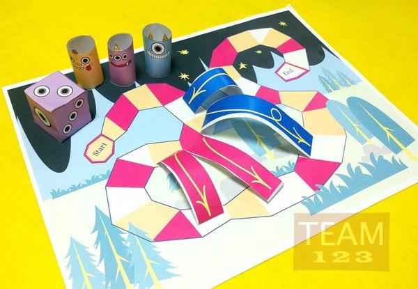 เกมส์กระดาษ เกมส์บันไดสัตว์ประหลาด (Monster)
